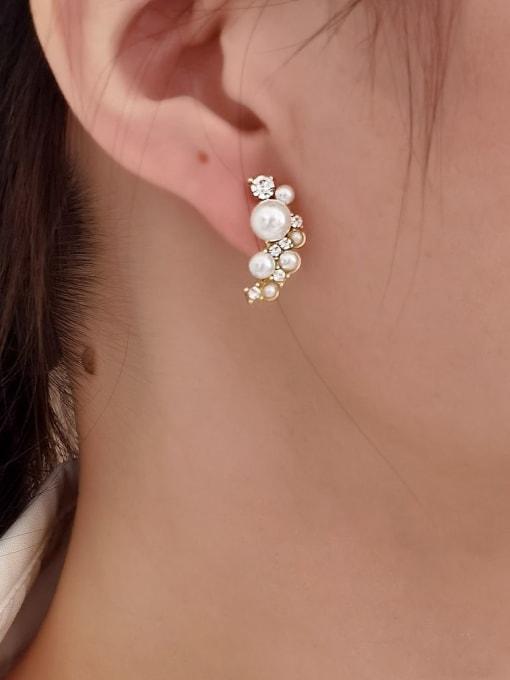 HYACINTH Brass Imitation Pearl Asymmetry Irregular Minimalist Stud Earring 1