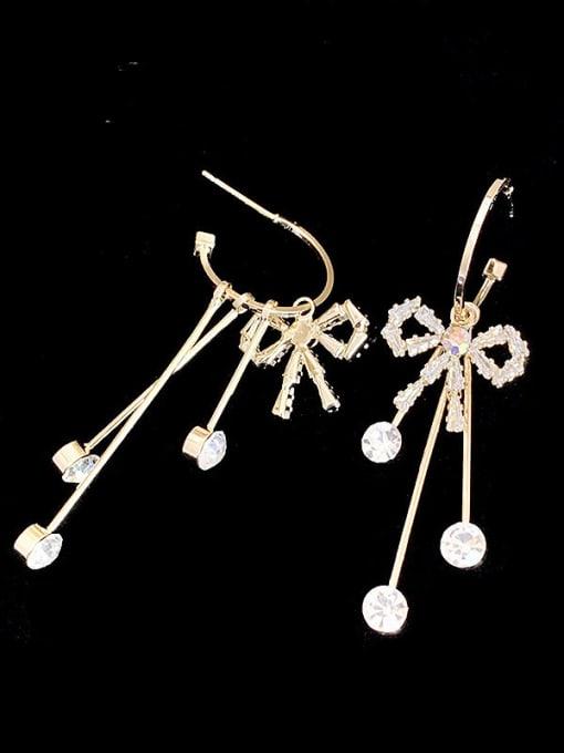 SUUTO Brass Cubic Zirconia Tassel Ethnic Drop Earring 1