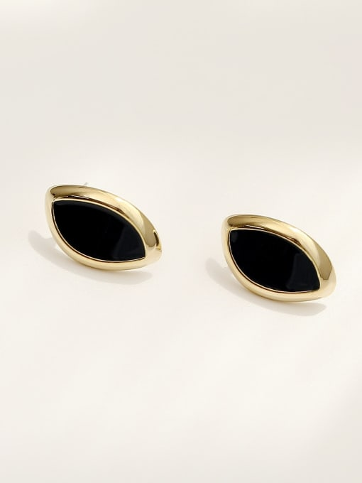 HYACINTH Brass Acrylic Geometric Vintage Stud Earring 2