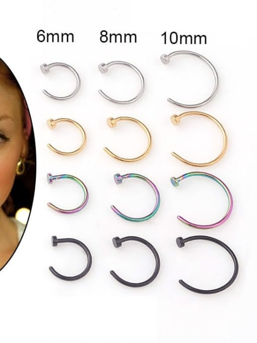 HISON Stainless steel Geometric Minimalist Nose Rings 1