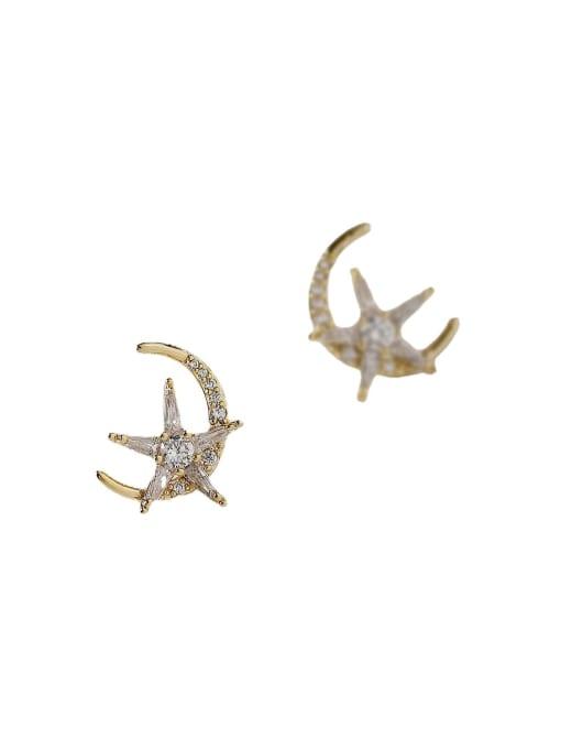 HYACINTH Brass Cubic Zirconia Moon Minimalist Stud Earring 3