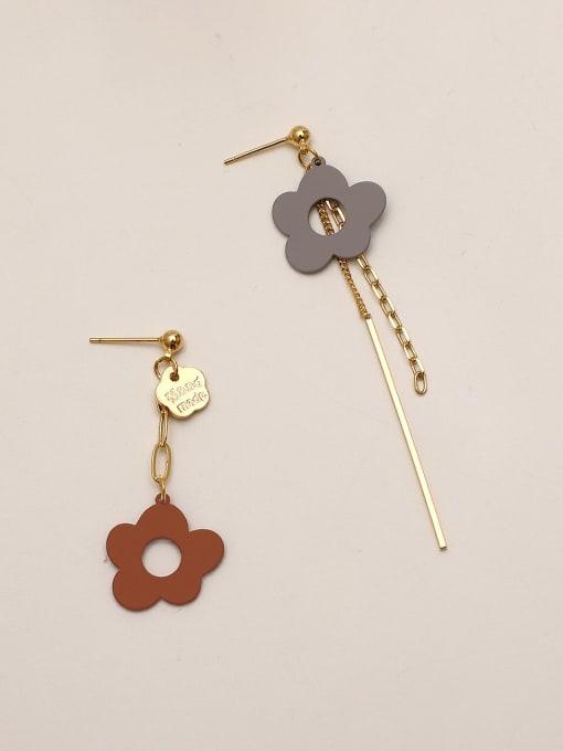 Caramel grey Brass Enamel Asymmetry Flower Ethnic Drop Earring