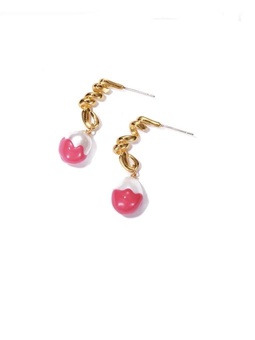 Pink Oil Drop Earrings Brass Enamel Geometric Vintage Drop Earring