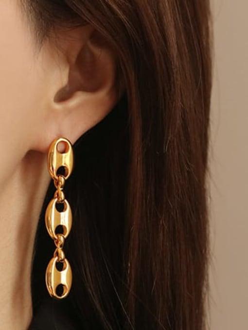ACCA Brass  Hollow Geometric Minimalist Drop Earring 0