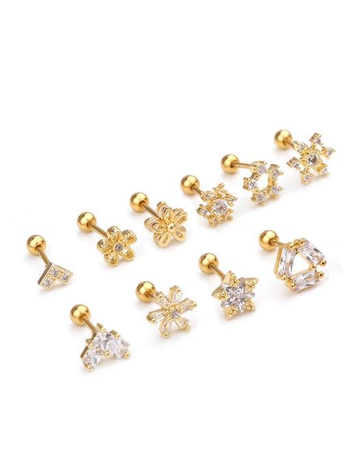 HISON Brass Cubic Zirconia Flower Cute Stud Earring (single) 2