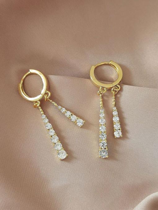 14k Gold Brass Cubic Zirconia Tassel Vintage Huggie Earring