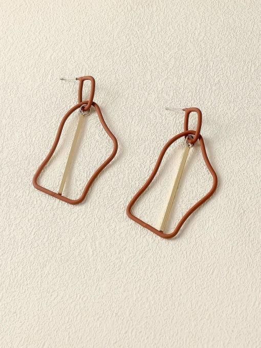 Coffee color Brass Enamel Geometric Minimalist Drop Earring