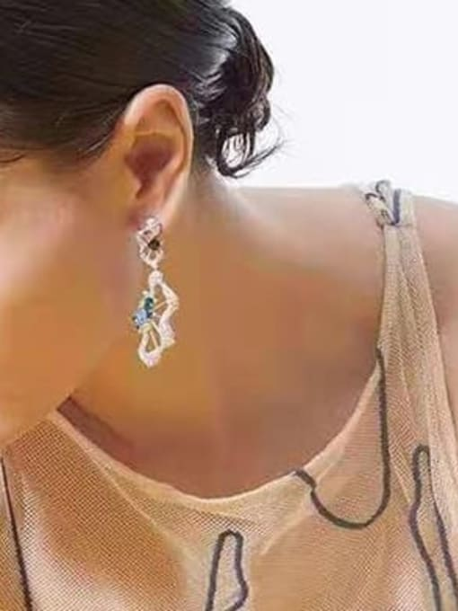 OUOU Brass Cubic Zirconia Irregular Luxury Drop Earring 1