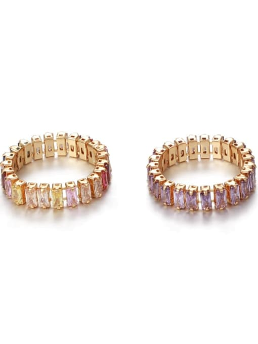Five Color Brass Cubic Zirconia Rainbow Vintage Band Ring 0