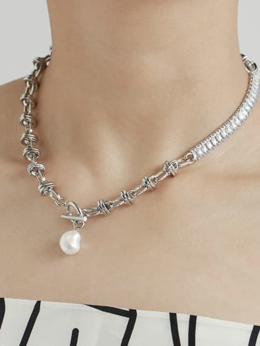 TINGS Brass Imitation Pearl Geometric Vintage Necklace 1