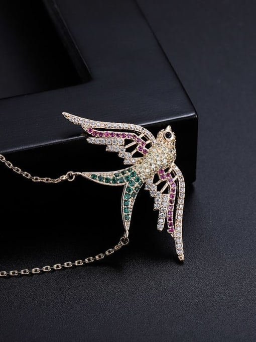 Color diamond Bird Brass Cubic Zirconia Vintage Pendant