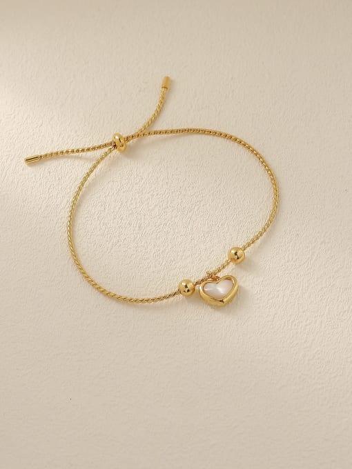 HYACINTH Brass Shell Heart Minimalist Adjustable Bracelet