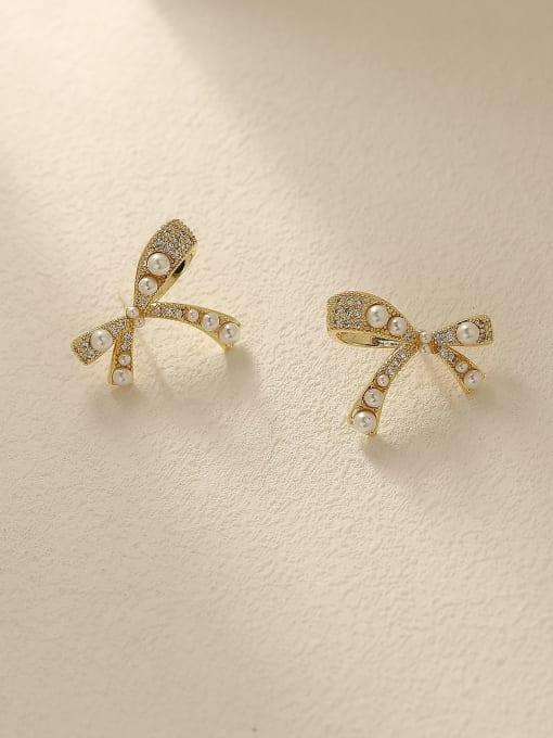 HYACINTH Brass Imitation Pearl Bowknot Vintage Stud Earring 2