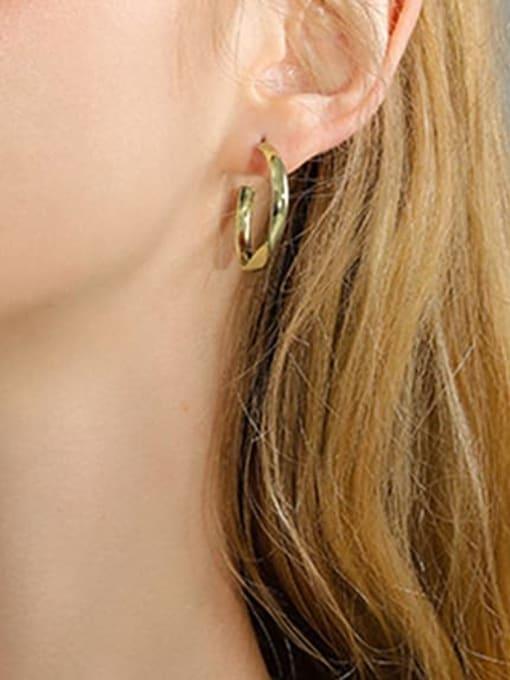 Desoto Brass Geometric Minimalist Hoop Earring 1