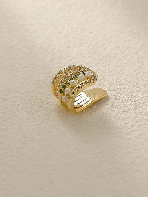 14k Gold Brass Rhinestone Geometric Hip Hop Clip Earring