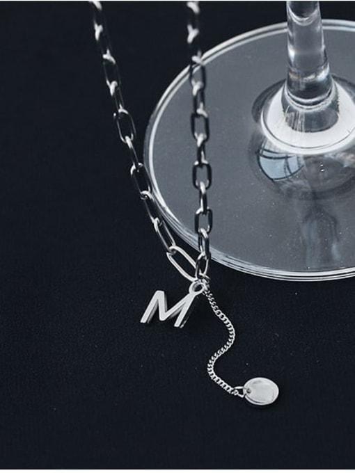 TINGS Titanium Steel Letter Vintage Lariat Necklace 2