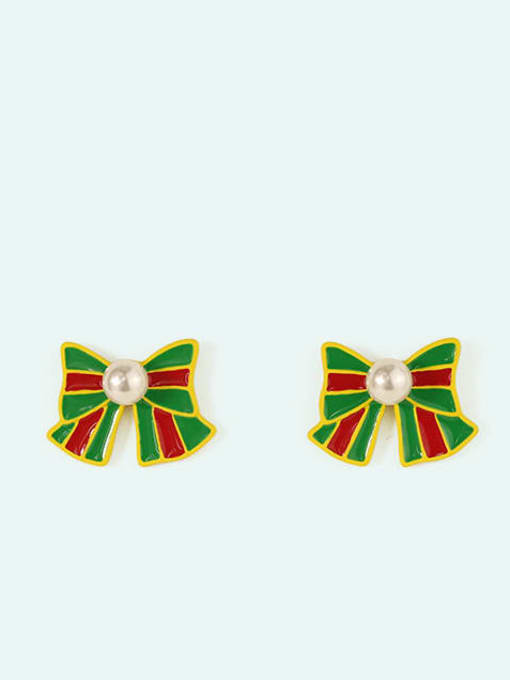 Five Color Alloy Enamel Bowknot Cute Christmas   Stud Earring 3