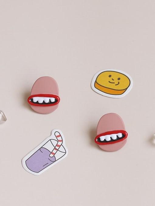 Five Color Alloy Enamel Mouth Cute Stud Earring
