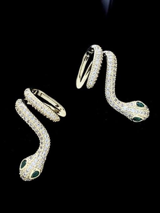 SUUTO Brass Cubic Zirconia Snake Luxury Stud Earring