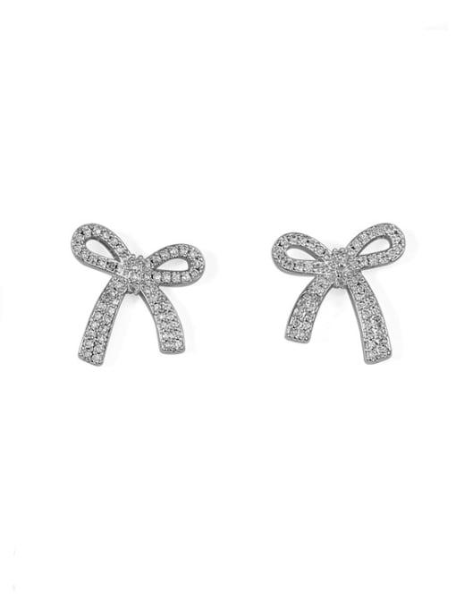 Pre sale) platinum Brass Cubic Zirconia Bowknot Classic Stud Earring