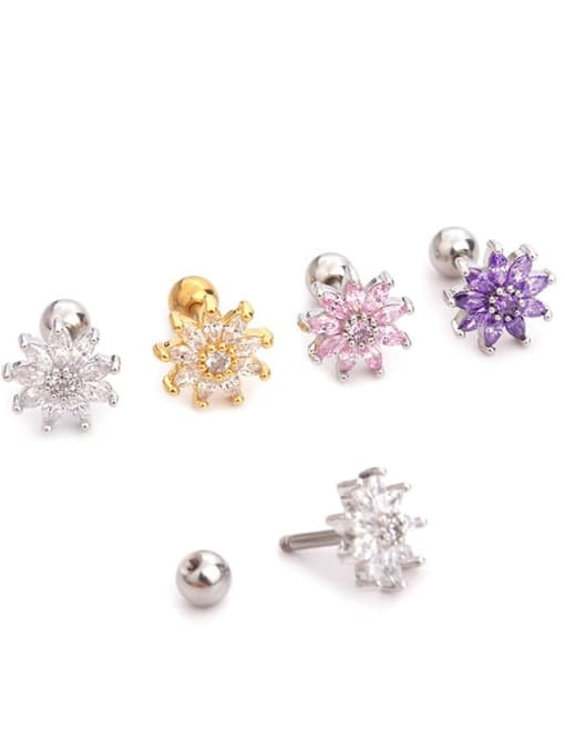 HISON Brass Cubic Zirconia Flower Cute  Stud Earring(single) 1