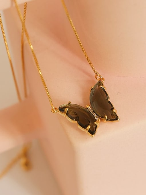 Five Color Brass Cubic Zirconia Butterfly Minimalist Necklace 3