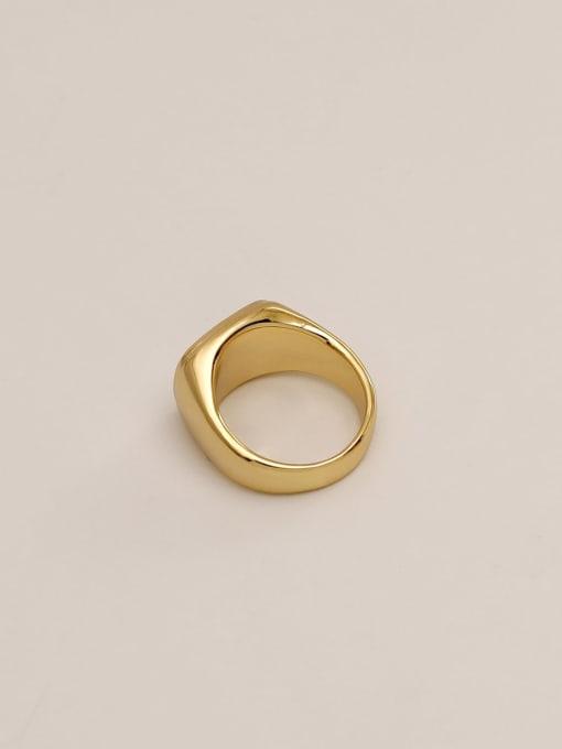 HYACINTH Brass Shell Geometric Vintage Band Ring 2