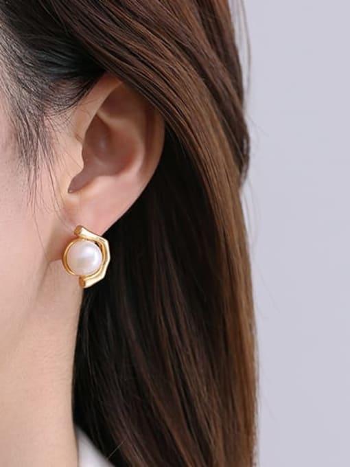 TINGS Brass Imitation Pearl Geometric Vintage Stud Earring 1