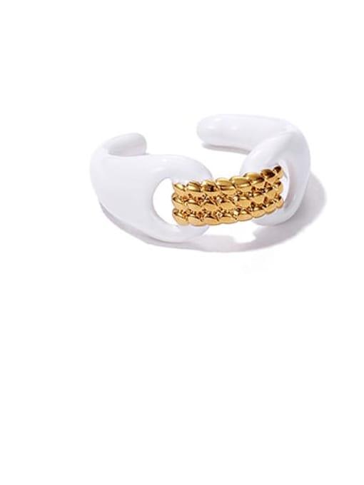 Cream oil dripping ring Zinc Alloy Enamel Geometric Minimalist Band Ring