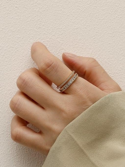 HYACINTH Brass Cubic Zirconia Geometric Minimalist Band Ring 1
