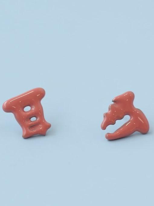 Five Color Alloy Enamel Message Cute Stud Earring