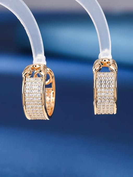 golden Brass Cubic Zirconia Geometric Luxury Stud Earring
