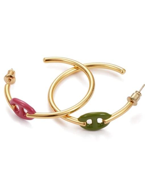 Five Color Brass Enamel Geometric Minimalist Hoop Earring