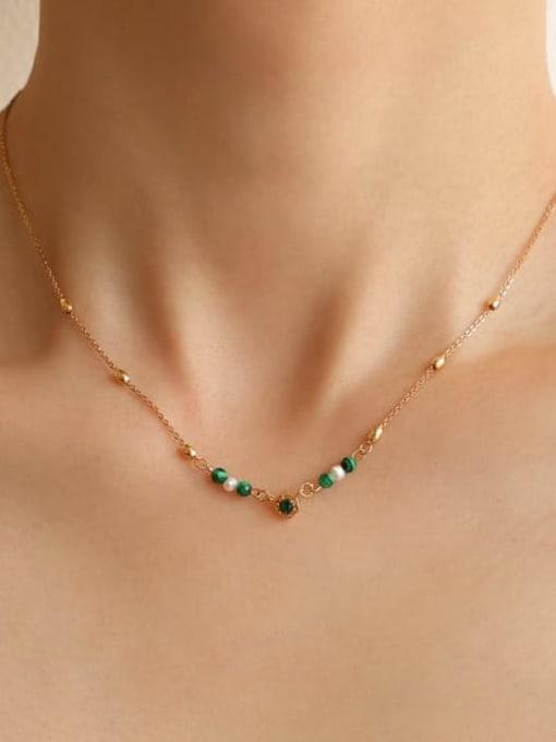 Five Color Brass Imitation Pearl Geometric Vintage Lariat Necklace 1