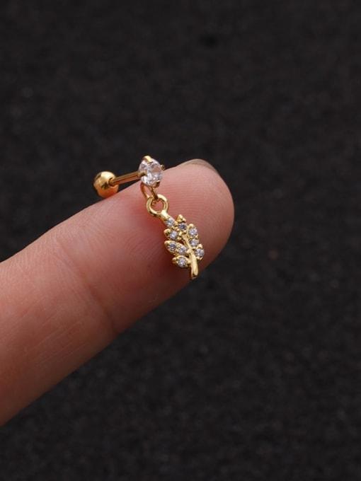 Gold 2#(Single) Brass Cubic Zirconia Geometric Cute Stud Earring