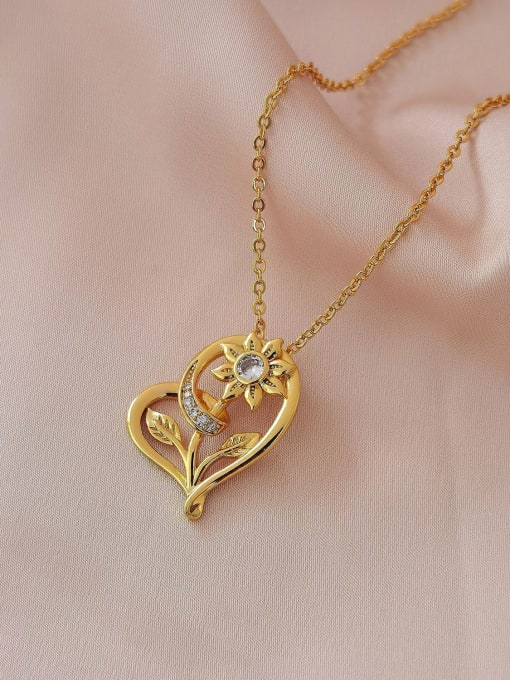 18k gold Brass Rhinestone Heart Vintage Necklace