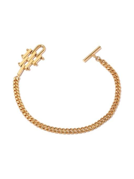 ACCA Brass Geometric Hip Hop Link Bracelet