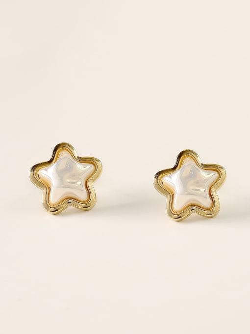 14k Gold Brass Imitation Pearl Star Minimalist Stud Earring