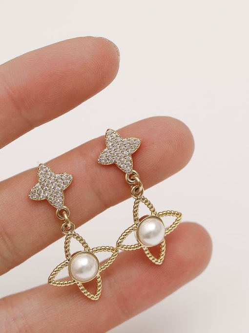 HYACINTH Brass Cubic Zirconia Geometric Minimalist Drop Earring 2