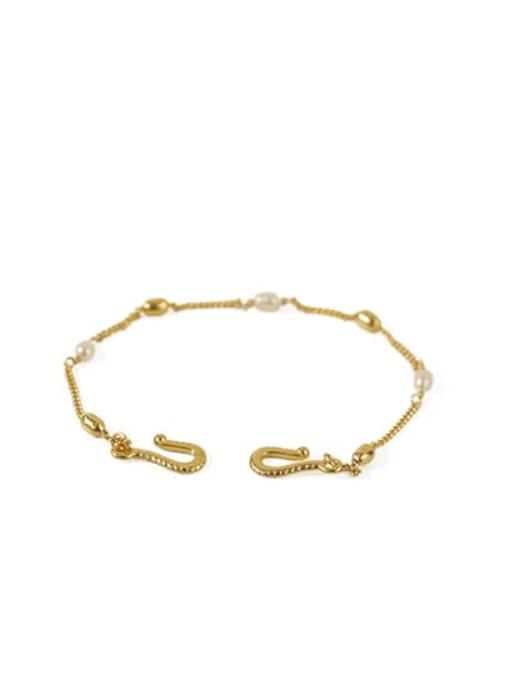 Pearl Bracelet Brass Freshwater Pearl chain Vintage Link Bracelet