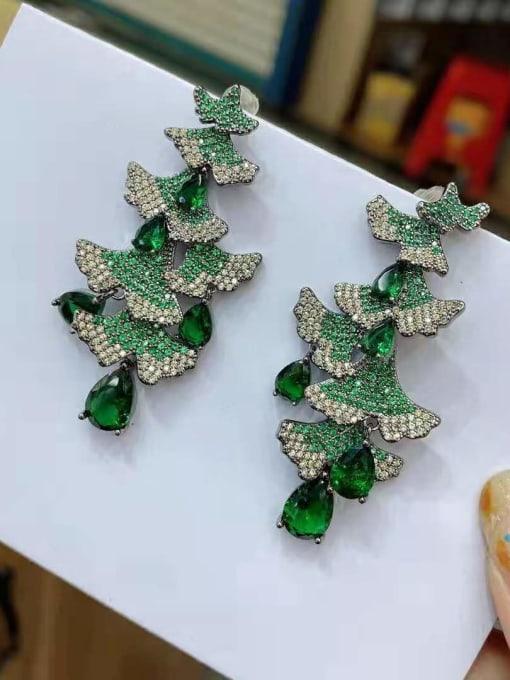 Christmas tree green gun black Brass Cubic Zirconia Christmas Tree  Luxury Drop Earring