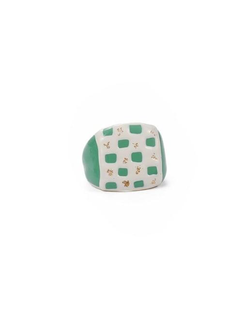 Chessboard Zinc Alloy Enamel Geometric Minimalist Band Ring