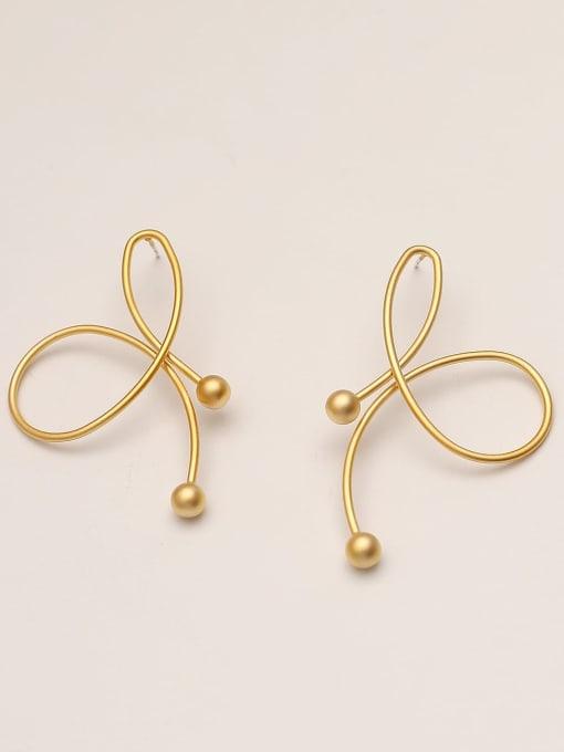 Dumb gold Brass Imitation Pearl Butterfly Minimalist Stud Earring