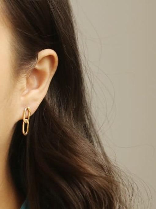 ACCA Brass Asymmetry Hollow Geometric Hollow Vintage Drop Earring 1