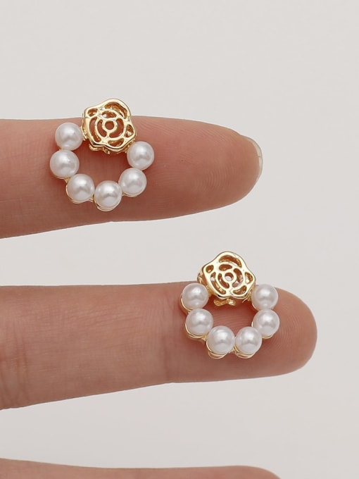 HYACINTH Brass Imitation Pearl Flower Vintage Drop Earring 2