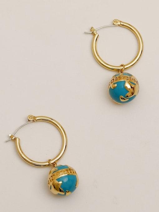 HYACINTH Brass Enamel Geometric Vintage Huggie Earring 2