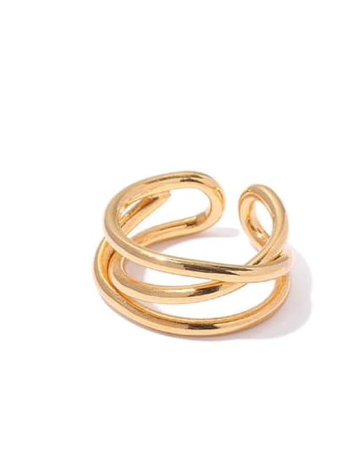 3 (US. 6 ring is not adjustable) Brass Geometric Vintage Band Ring