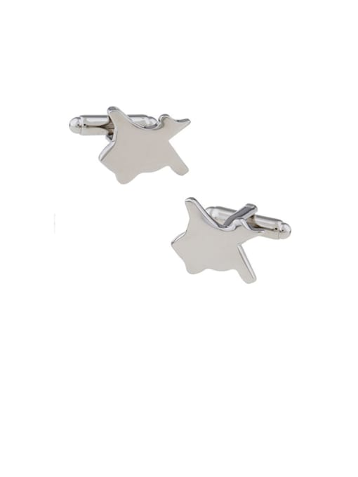 white Steel Brass Smooth Star Vintage Cuff Link