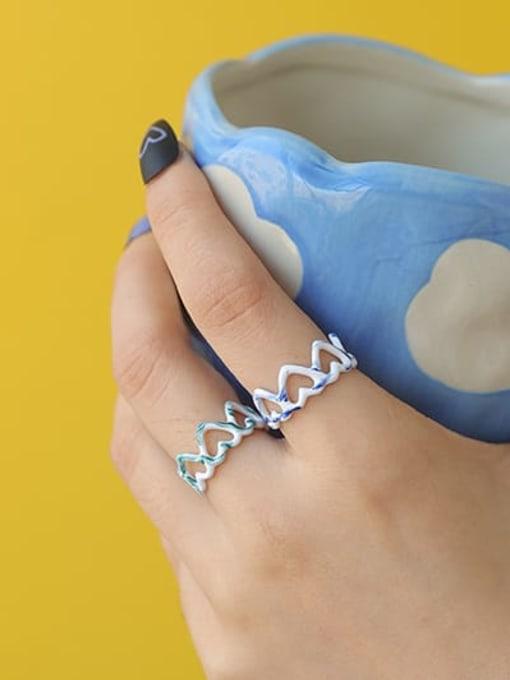 Five Color Zinc Alloy Enamel Heart Minimalist Band Ring 2
