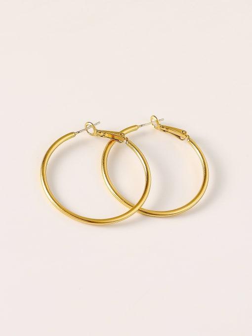 HYACINTH Brass Round Minimalist Hoop Earring 2